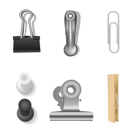 Clips set and office supplies. Vector illustration.