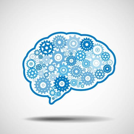 artificial intelligence: Brain gear. AI artificial intelligence concept.