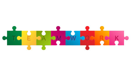 Puzzle with the word teamwork. Business concept jigsaw puzzle. Illustration