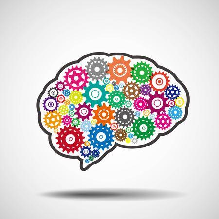 Brain gears. AI artificial intelligence concept.