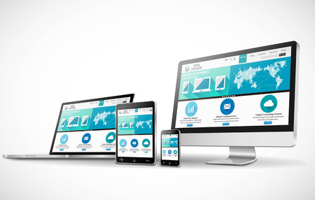 Web design concept with modern devices mockup Illustration