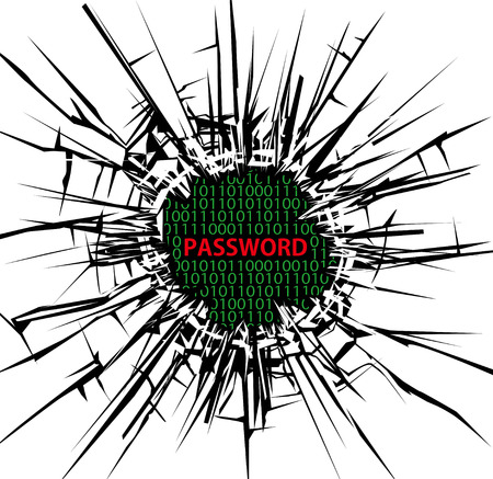 Security concept, Breaking through the glass and password