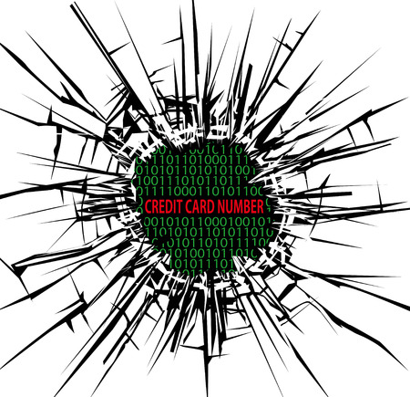 Security concept, Breaking through the glass and credit card number