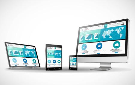 Vector mehrere Geräte und Website