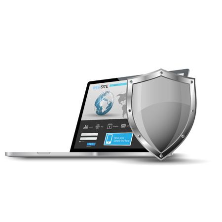 Laptop with metallic shield, internet security concept