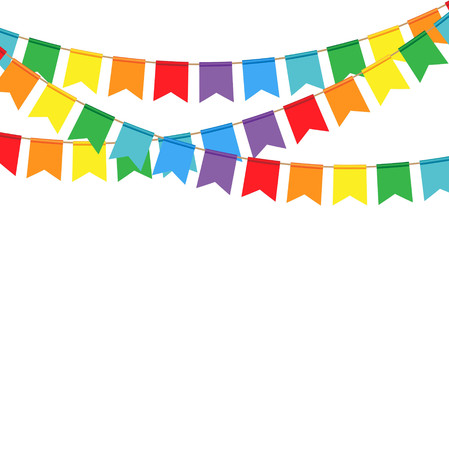 blank space: Party flags on a white background. Celebrate banner.