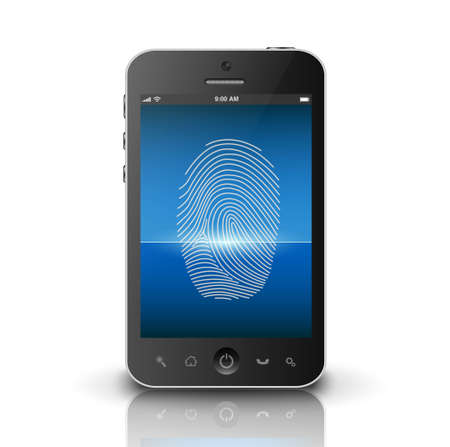 identification: Smartphone scanning fingerprint on a screen