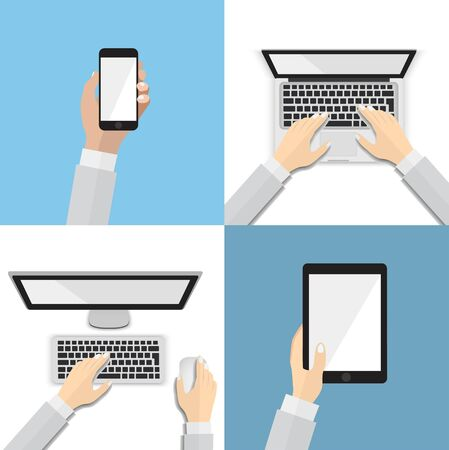 computer devices: Set of flat hand icons with various communication devices. Using smart phone, laptop, desktop, tablet, flat design concept.