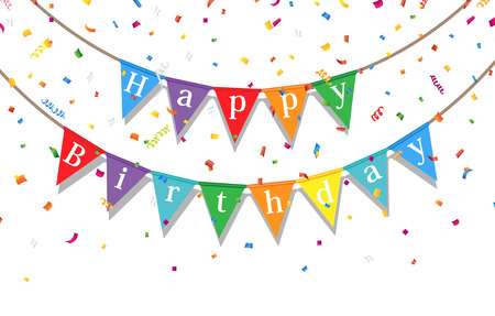 event party festive: Happy Birthday party background with flags and confetti