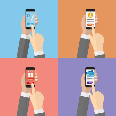 Vector illustration of smartphone for internet shopping, sign in, and payments from credit card. E-commerce online shopping concept.