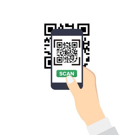Dłoń trzymająca smartphone z QR-Code skanowania. Ikona stylu płaskiego wektora. Ilustracje wektorowe