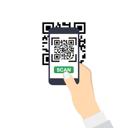 hand touch: Hand holding a smartphone with QR-Code scan. Flat style vector icon. Illustration