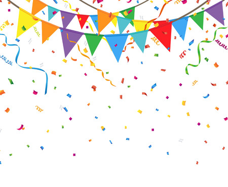 triangular banner: Party flags with confetti and streamer