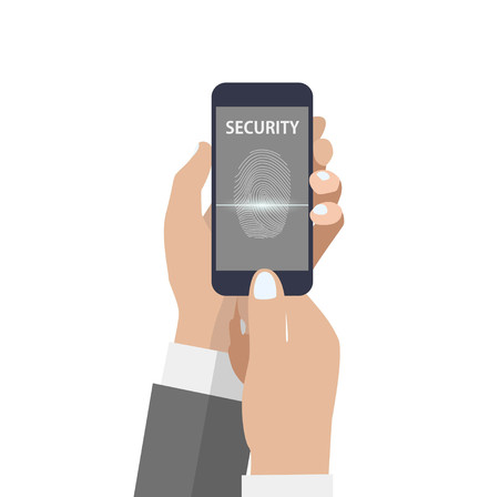 smartphone hand: Hand holding smartphone with scanning fingerprint on the screen Illustration