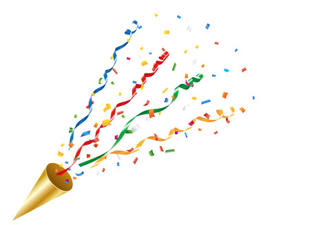 Exploding party popper with confetti and streamer Ilustracja