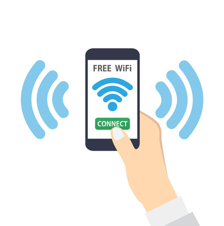 wireless connection: Hand holding smartphone with free wifi wireless connection
