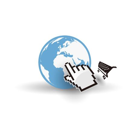 flat earth: Internet earth globe with mouse hand and shopping cart Illustration