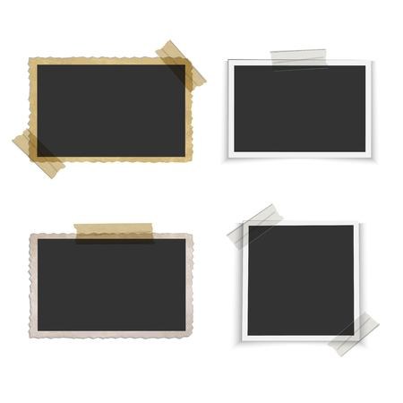 Old blank photo frame with tape