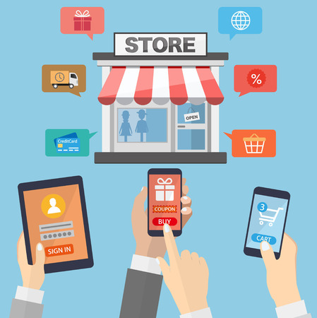 internet marketing: Hands holding mobile devices and online shopping Illustration