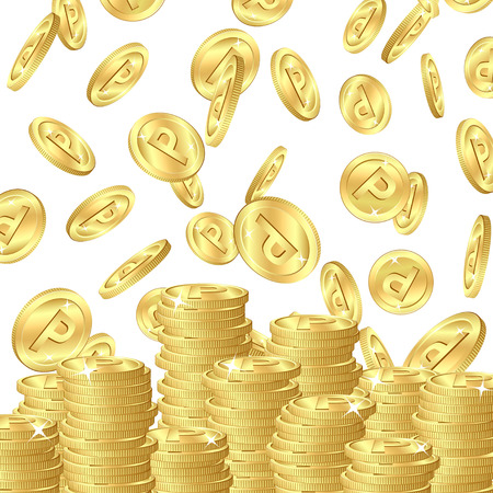 Falling gold point coins