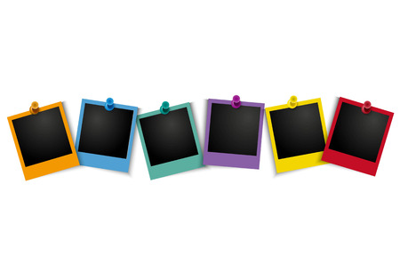 Colorful photo frame with pushpin