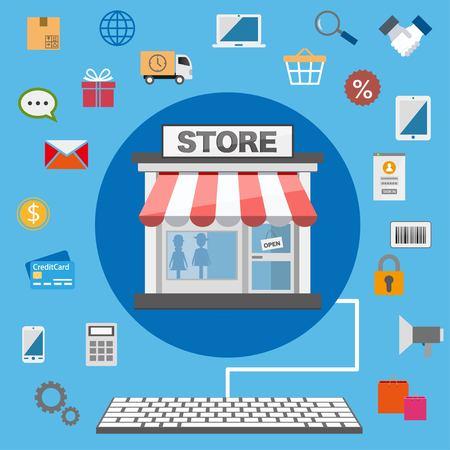 Flat design online shop