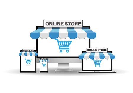 Devices with internet shop Иллюстрация