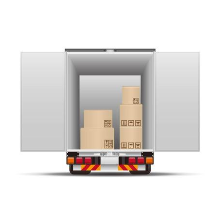 camion de livraison avec des boîtes