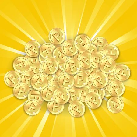 pennie: Gold coins on sunburst background