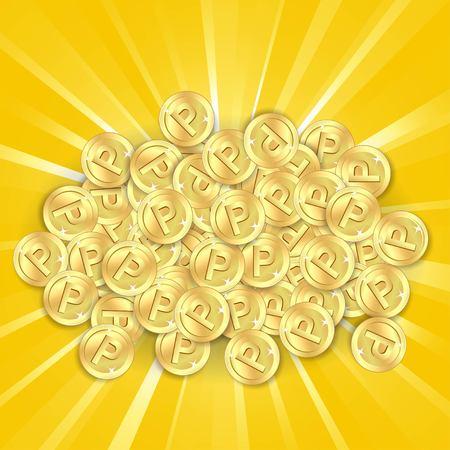 pennie: Gold coins on sunburst background