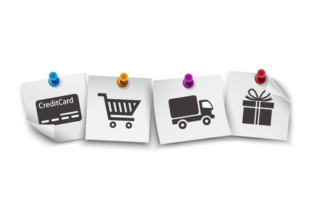 paper pin: E-commerce symbols on white paper with colorful push pin Illustration