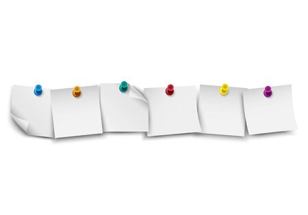 paper pin: Blank white note paper with push colored pin Illustration