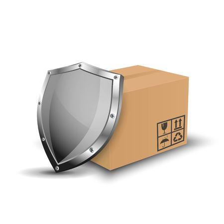 shipment: Logistic shipping cardboard box and metallic shield