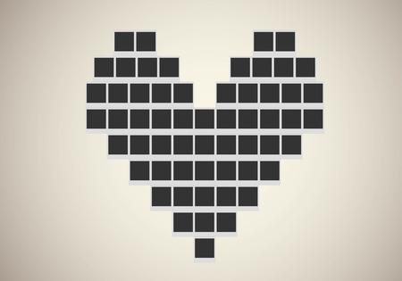 Polaroid photo frame in heart shape