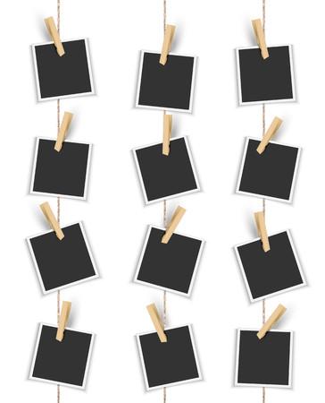 Blanco fotolijsten verticaal opknoping met wasknijper