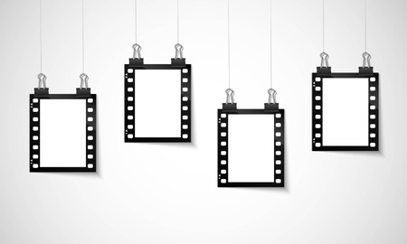 negative: Blank negative film hanging on a line