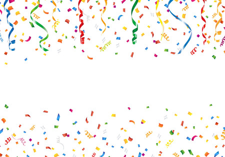 happy anniversary: Confetti and streamers with copy space Illustration