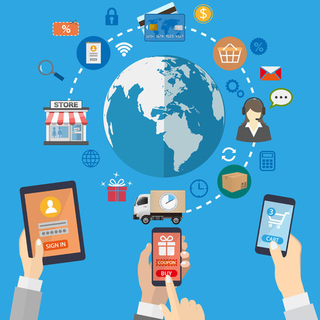 mobile marketing: Mobile marketing concept. Online shopping.