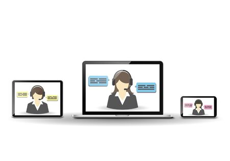 support center: Female operator and customer support center Illustration