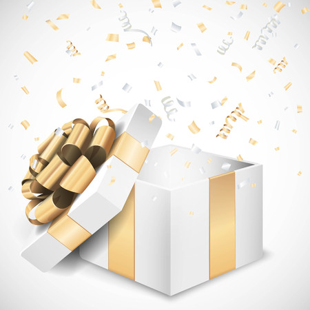 Vector open geschenk doos en confetti