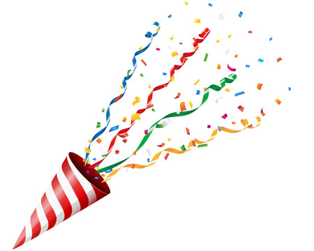 popper: Party cracker with confetti and streamer on white background