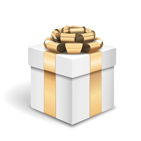gold gift box: Vector white gold gift box
