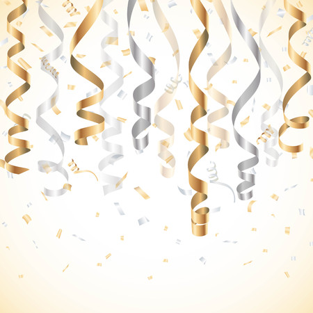 Gold and silver streamer with confetti background Stock Illustratie