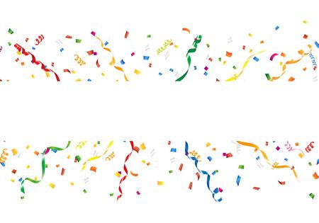 Célébration de fond avec des confettis et serpentins Vecteurs