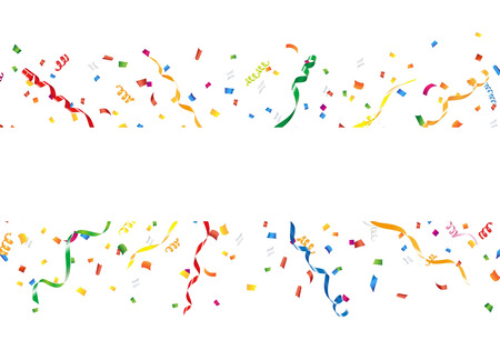 Celebration background with confetti and streamer Stock Illustratie