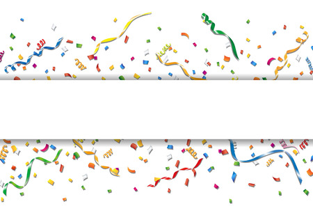 blank banner: Celebration background with confetti and streamer Illustration