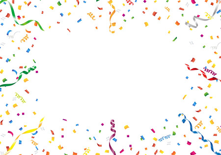 streamers: Confetti and streamer frame on white background Illustration