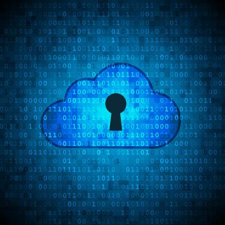 Cloud with keyhole on digital data background. Cloud computing security concept. Illusztráció