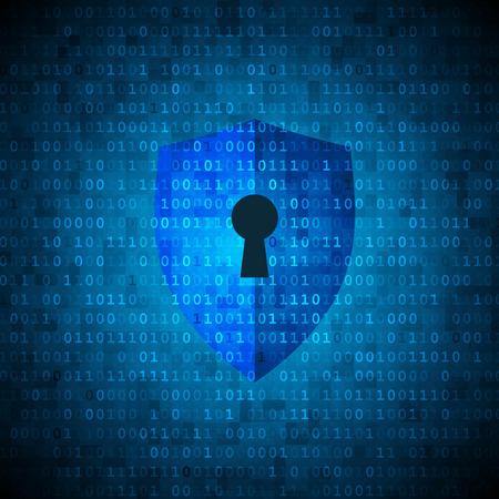 デジタル データの背景に鍵穴を保護シールド。サイバー セキュリティの概念。