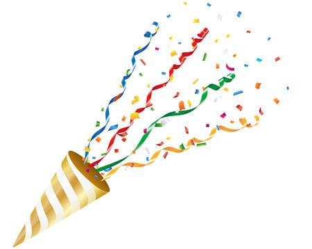 Exploding partij popper met confetti en streamer op een witte achtergrond